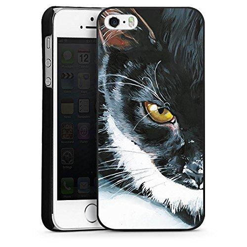 Apple iPhone 5 Housse étui coque protection Chat Noir et blanc Animal domestique CasDur noir