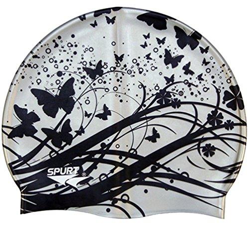 Moolecole Mode Damen Wasserdicht Silikon Badekappen Weiche Schwimmen/Baden/Schlaf Kappe Schwimmkappe Haarpflege Swim Cap Silber Schmetterling