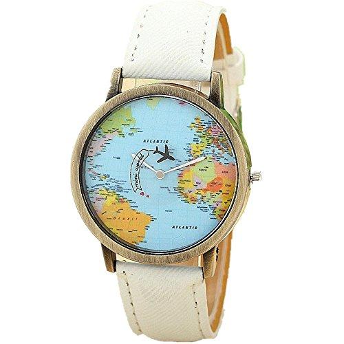 Vintage Denim Band Uhr Damen, DoraMe Frauen Globe Reise Flugzeug Karte Armbanduhr Mode Klassische Uhren 2018 Neue Luxus Watch (Weiß)