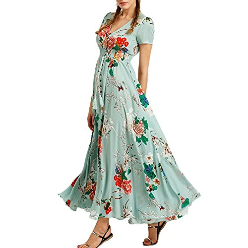 c2d371091f5 iShine Sommerkleid Damen V-Ausschnitt A-Linie Kleid Lang Strandkleid  Maxikleid mit Blumen Abendkleid