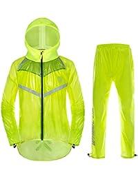Baby Fat Unisex Impermeable Chaqueta de Ciclismo Senderismo con Capucha y Pantalones Correas Reflectantes Chaqueta de Lluvia para Deportes al Aire Libre