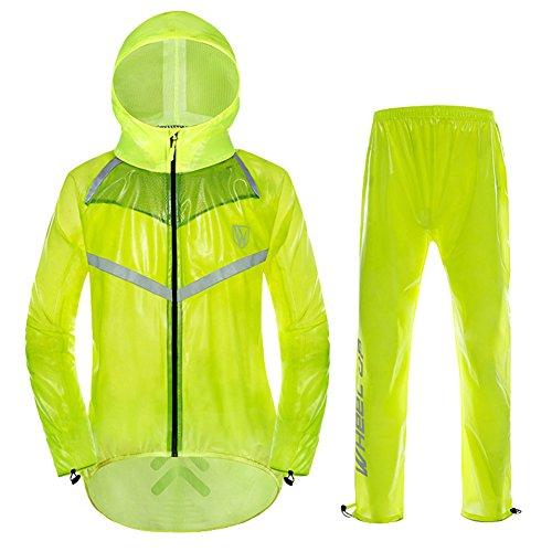 Leichte Herren\\Damen Regenjacke Ultraleicht Fahrrad Regenanzug Wasserdicht(Regenhose + Regenjacke) Visible Reflektierend, wasser- und winddicht, jacke im Set Grün 170-175cm Lable XL