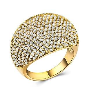 Damen Herren Ring Weiß Vintage Akzent Kuppel Ring Cluster Zirkonia Paved Statement Verlobung Ehering Band Brautschmuck Set Weissgold Ringe Größe 5-10 Ehering, Kupfer, Gold, 6