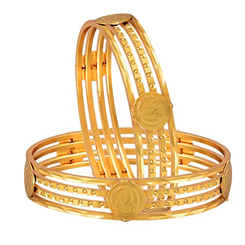 Zeneme Temple Coin Precious Gold Plated Bangles Jewellery for Women and Girls  available at amazon for Rs.129