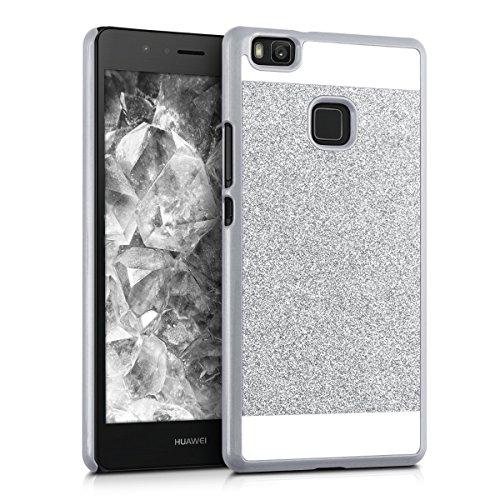 kwmobile Hardcase Hülle für Huawei P9 Lite mit Glitzer Rechteck Design - Hartschale Backcover Case Schutzhülle Cover in Silber Weiß