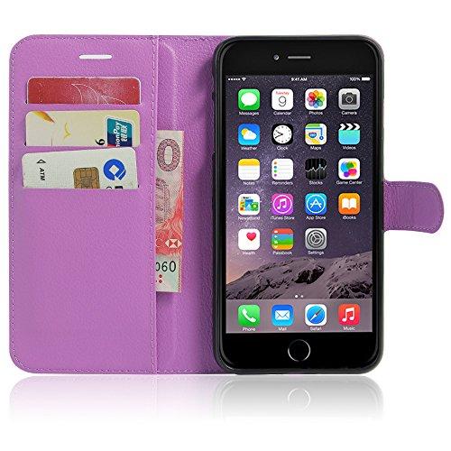 Sleeve für Apple iPhone 8 4.7 Zoll aufstellbare Flipcase Tasche in Leder-Optik extra dünn mit Kartenfächern Lila