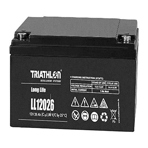 Triathlon Long Life AGM Batterie 12Volt 26AH wartungsfreie verschlossene VLRA Batterie (Valve Regulated Lead Acid) Valve-regulated Lead
