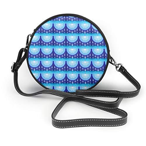 Ameok-Design Blue Moonlight Sonata Schultertasche Crossbody Handtasche Multifunktions PU Leder für Shopping-Reisen rund Gold Sonata