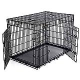 SONGMICS Cage pour Chien 2 Portes Pliable et Transportable avec Poignées et Plateau Noir XXXL 122 x 76 x 81 cm PPD48H...