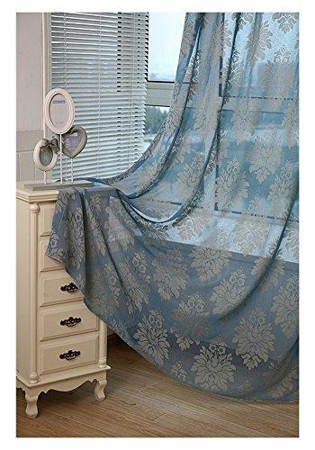 1 Stück Baumwolle und Leinen Stickerei Voile Vorhänge & Vorhänge zum Leben Zimmer das Schlafzimmer Schier Vorhänge Tüll Netz Garn Bucht Fenster Vorhänge Partition (W * H) , Blue , 3*2.7m(hook top) (Gaze Top Häkeln)