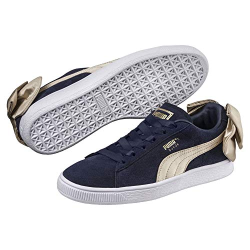 Puma Suede Bow Varsity Damen Sneaker Peacoat-Metallic Gold 7.5 Lace Up Suede Sneakers