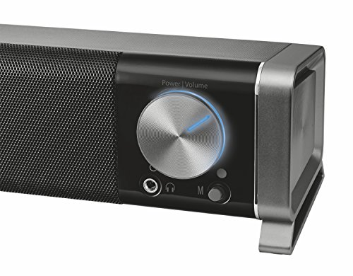 51dbV7VR bL - Trust Asto PC Soundbar Speaker for Computer, Laptop and TV, 12 W, USB Powered, Black/Silver