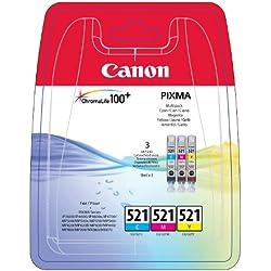 Canon CLI-521 Cartouche C/M/Y Multipack Cyan, Magenta, Jaune (Multipack plastique)