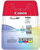Canon CLI-521 3 original Tintenpatrone Multipack C/M/Y für Pixma Inkjet Drucker MX860-MX870-MP540-MP540x-MP550-MP560-MP620-MP620B-MP630-MP640-MP980-MP990-iP3600-iP4600-iP4600x-iP4700
