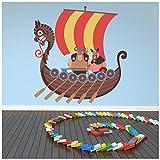 azutura Viking Barco Vinilos Barco Vikingo Adhesivos Pegatina Pared Art Chicos Dormitorio Decoración Disponible en 8 Tamaños Gigantesco Digital