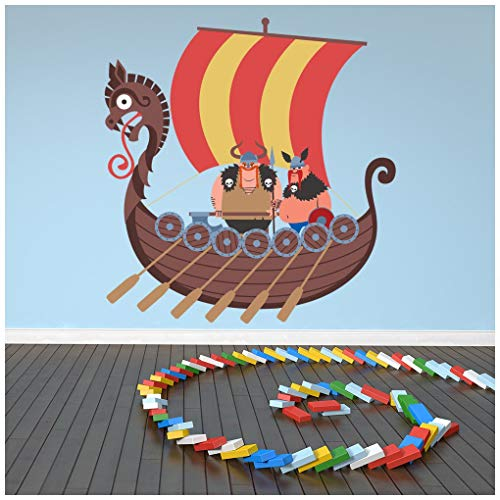 azutura Viking Barco Vinilos Barco Vikingo Adhesivos Pegatina Pared Art Chicos Dormitorio Decoración Disponible en 8 Tamaños Gigantesco Digital
