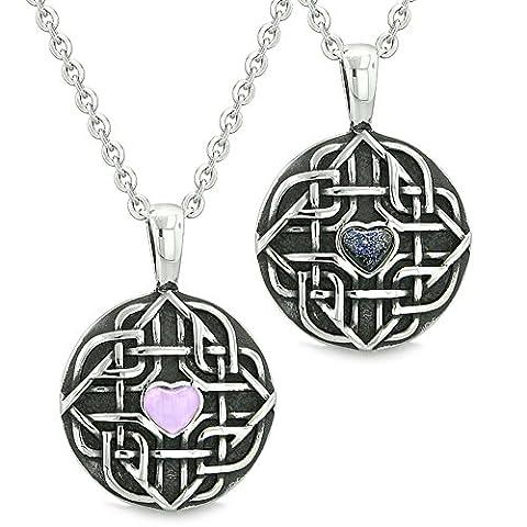 Amulette Love Couple Best Friends Keltischer Knoten Herz lila Simulierte Katzenauge blau Goldstone-Ketten