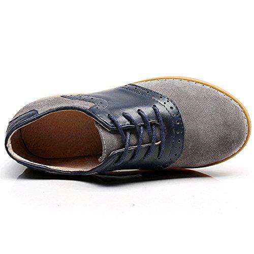 Rismart Garçons Mode Lacer Cuir Véritable Brogue Oxfords Petits Enfants Gros Enfants Chaussures Habillées SN358 Gris&Bleu Marin