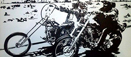 Easy Rider Harley Davidson Motorrad–Modernes Bild–Holzplatte MDF handbemalt Pop Movie Art (Format 70x 30cm)