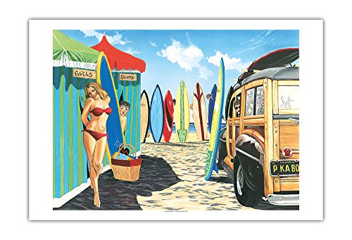 Pacifica Island Art - Guck-Guck - Retro Woodie mit Surfbrettern und Pin-up Girl - Gemälde von Scott Westmoreland - Kunstdruck 76 x 112 cm