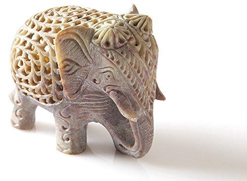 FIGO Inc, Thanksgiving Gifts 10,2 cm Neuheit Artikel - Verschachtelter weißer Elefant, handgefertigt aus Marmor, Speckstein, Elefant - Baby im Mutterbauch -