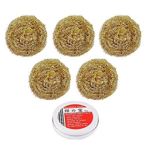 Lötspitzen-Reinigungskugel + Lötpaste, Lötkolben-Spitzen-Reiniger, Messingdraht (30 g/Stück), ein guter Ersatz für herkömmliche Schwämme, 5 Stück
