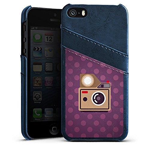 Apple iPhone 5s Housse Étui Protection Coque Photo Caméra Photographie Étui en cuir bleu marine