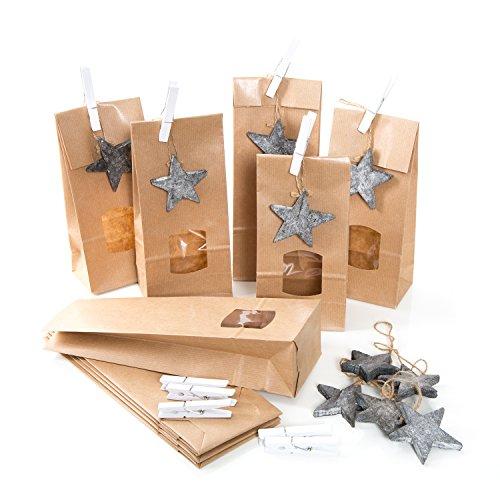 20 Stück kleine braune Weihnachtstüten Papiertüten 10,5 x 6,5 x 29 cm MIT Sicht-FENSTER + 20 grau natur Holzsterne + 20 Klammern Verpackung give-aways Plätzchen Lebensmittel Weihnachten Weihnachtsgeschenke Kunden Freunde