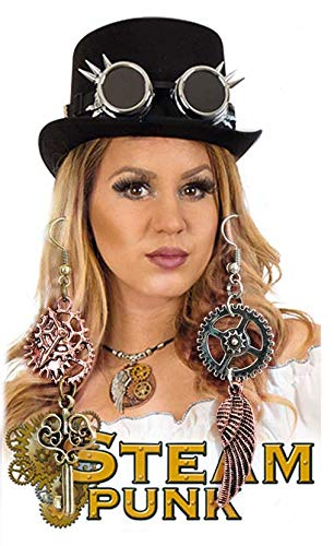 Renaissance Dieb Kostüm - KarnevalsTeufel Zubehör-Set Steampunk, 4-teilig Zylinder, Brille, Kette, Ohrringe | Mittelalter, Renaissance, Barock, Piratin