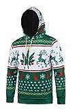 Nawoshow Herren 3D Druck Kapuzenpullover Sweatshirt Hoodie Pullover Weihnachten Sankt / Reer Pullover (Tag XXXL=EU XL, Green Deer)
