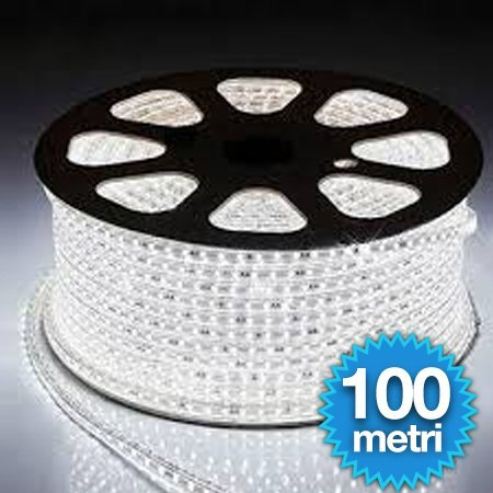 100 METRI STRISCIA LED FLESSIBILE STRIP LED 5050 INTERNO ESTERNO 220V BOBINA DA 100 METRI