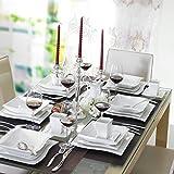 Malacasa, Serie  Flora, 60 pezzi di servizio da tavola in porcellana Set di servizi da tavola con 12 tazzine da caffè , 12 piattini, 12 piatti da dessert, 12 piatti a base di zuppa e 12 piatti piani per 12 persone