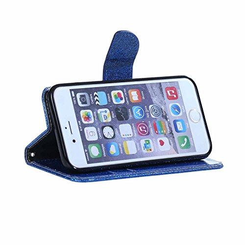 iPhone 6sPlus Handyhülle, CLTPY iPhone 6Plus Ledertasche Folio Brieftasche im Bookstyle, Funkel Kreativ Muster mit Stand Funktion Kartenfächer Magnetic Closure Etui für Apple iPhone 6Plus/6sPlus + 1 x Blau Glitzer