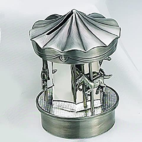 PEWTER/ SILVER CAROUSEL BANK - SILVERPLATE AND PEWTER FINISH CAROUSEL MONEY BANK