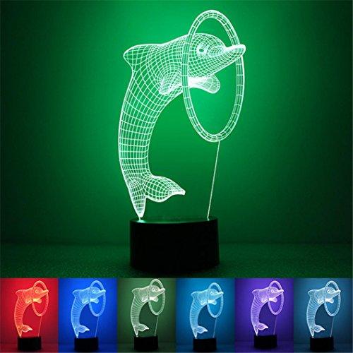 sunnymi Regenbogen Delphine 3D Baby Kind Nachtlicht Home Decor LED Tischleuchte Projektion,Einzigartige Liebe Lichteffekte Optische Täuschung,Ein Großes Geschenk Für Ihre Familie, Kinder, Freunde (260*150*55mm, Schwarz) Blinds 55 Mm