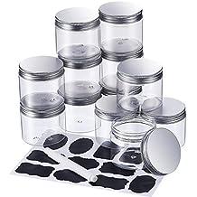 Botes Transparentes Vacíos Envase de Favores Almacenaje de Plástico de Boca Ancha con Tapa de Metal