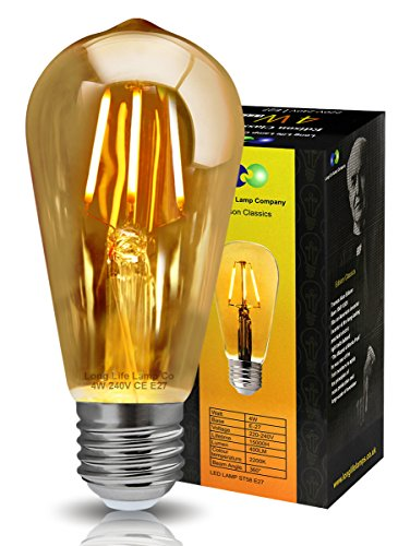 Retro-Vintage-LED-4w-Squirrel-Cage-Edison-Style-Filament-Bulb-Smoked-Gold-Glass-ST58-E27-Edison-Screw