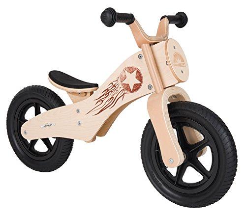 Bikestar Bicicleta sin pedales Premium de Madera Natural para mantener la velocidad, desde 3 años ★ Edición 12 chopper ★ Woody Rocker