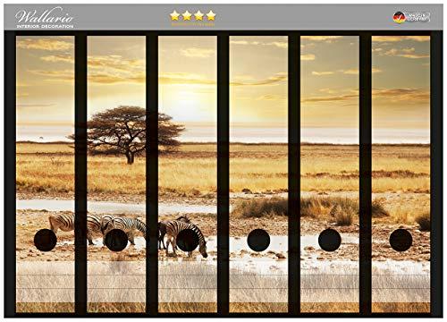 Wallario Ordnerrücken Sticker Safari in Afrika eine Herde Zebras am Wasser in Premiumqualität - Größe 36 x 30 cm, passend für 6 breite Ordnerrücken
