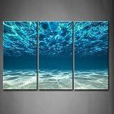 Impression Ouvrages d'art Bleu Océan Mer Peinture Murale d'art l'image imprimée sur Toile Vue de Fond en Dessous de la Surfac