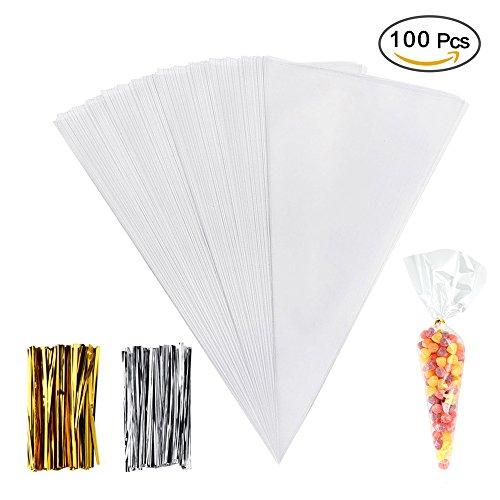�ßigkeitentüten, Transparent Tütchen mit 100 Twist Ties für Weihnachten Thanksgiving Hochzeit und Party, 14.5 x 7 Inches (Marshmallow-halloween-süßigkeit)