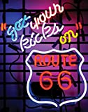 "Cozyle Route 66 Neon Sign 19""x15"" Real Glass Bright Neon Light for Mancave Beer Bar Pub Garage Room"