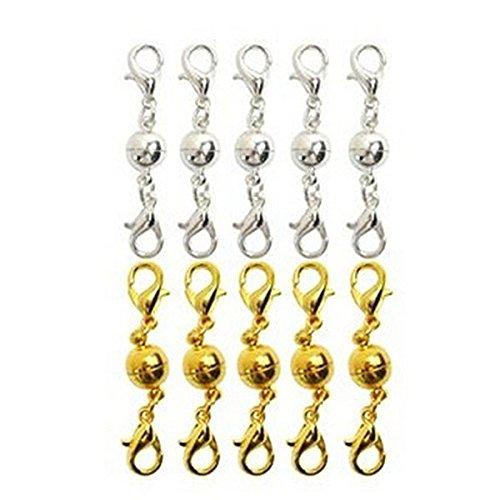 WINOMO Magnetverschluss Kettenverschluss Magnetschließen Schmuckverschlüsse magnetischer Karabiner für Schmuck Halskette Armband - 10 Stücke