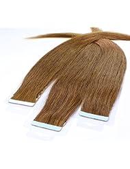 Just Beautiful Hair 40 x Tape In Extensions aus Premium-Echthaar, 40cm, 2,5g Strähnen, glatt - Farbe 8 hellbraun