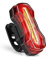 Albrillo EclairageArrièreVélo LED, LumièreVélo Feu Arrière Vélo USB Rechargeable , FeuArrièrede vélo avec 6 mondes d'éclairage, Étanche IPX4