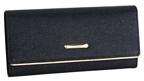 LH SAIERLONG Damen Trifold Wallet Schwarz Mode Aus Weichem Leder Brieftasche