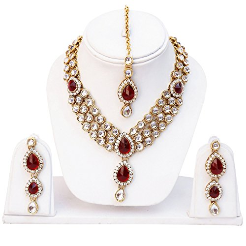 Shining Diva Red Kundan Necklace With Earrings Set For Women