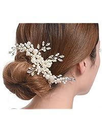 Accesorio de novia para pela, con cristales austriacos de perlas simuladas, color crema