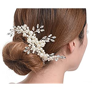 Creme simulierte Perlen ?sterreichischen Kristall-Bl?tter Brauthaar Kamm Hochzeit Accessories