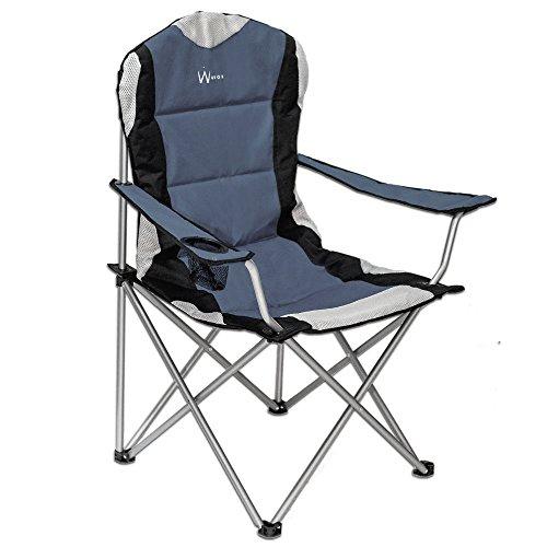 WUBOX Campingstuhl faltbar, leicht, stabil - Luxus Gartenstuhl für Camping - klappbar und mit Getränkehalter und Tragetasche in Blau und Grau, Farbe (Color):grau